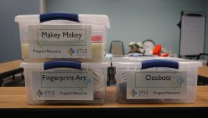 Maker Kits come neatly packaged in plastic bins for easy transport.