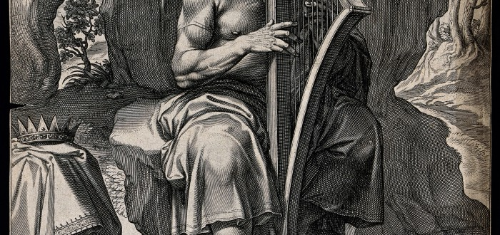 V0034341 An aging David strums his harp, reciting psalms. Engraving b Credit: Wellcome Library, London. Wellcome Images images@wellcome.ac.uk http://wellcomeimages.org An aging David strums his harp, reciting psalms. Engraving by E. van Panderen, c. 1620, after J. Arpinas. By: Joseph Arpinasafter: Egbert van PanderenPublished:  -   Copyrighted work available under Creative Commons Attribution only licence CC BY 4.0 http://creativecommons.org/licenses/by/4.0/