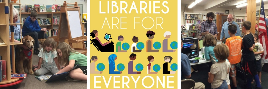 Libraries Are for Everyone Banner image with kids reading to a dog