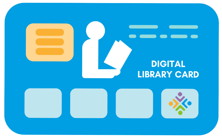 """Image of a library card with STLS logo and text """"digital library card"""""""